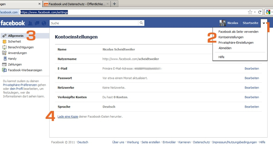 Facebook Datenanforderung Screenshot