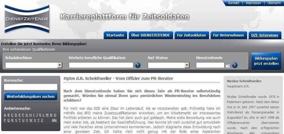 Scheidtweiler PR im Portal Dienstzeitende - Medienspiegel
