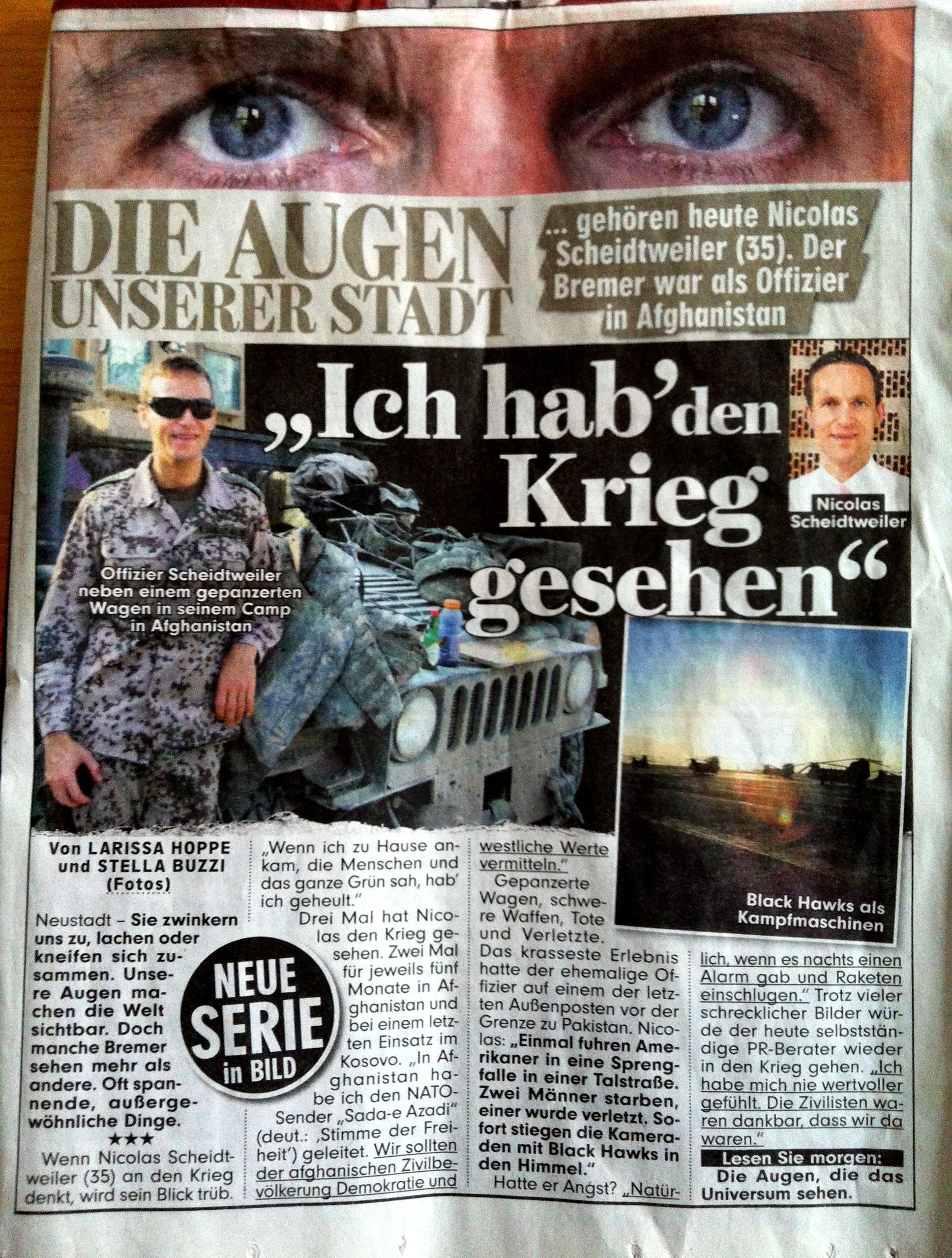 BILD Bremen - Offizier Nicolas Scheidtweiler war in Afghanistan - Medienspiegel