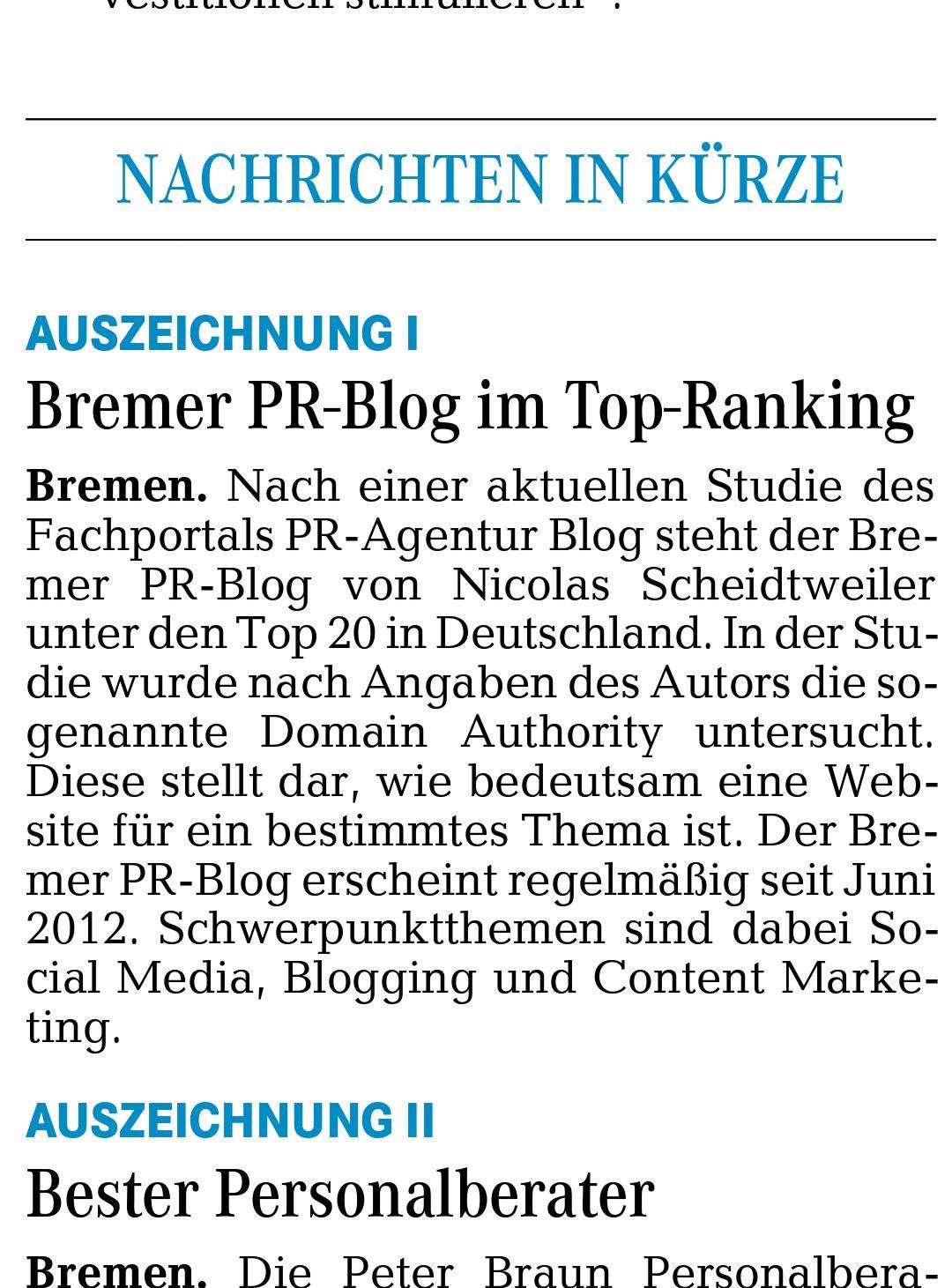 Bester PR-Blog in Bremen - Kurier am Sonntag Nordwest vom 8. Juni 2014