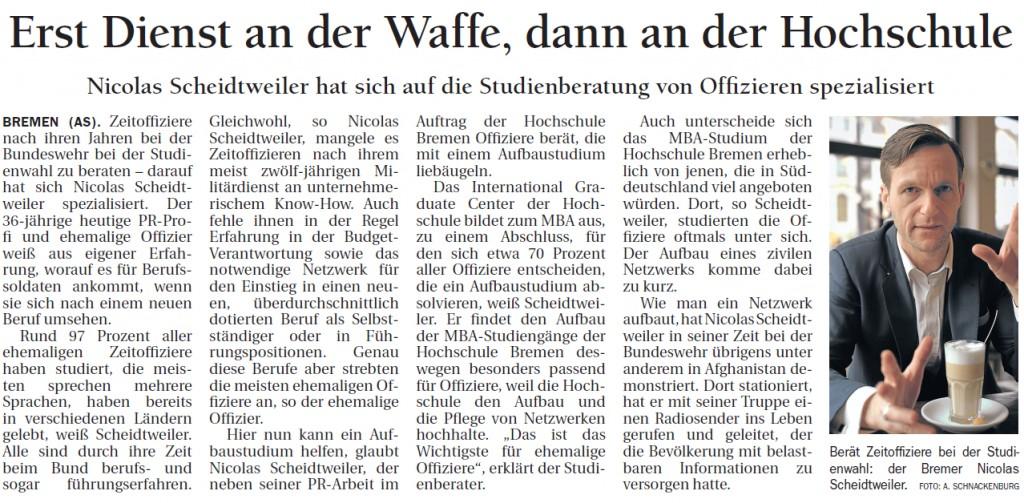 Delmenhorster Kreisblatt - Nicolas Scheidtweiler über das Offizierprojekt am IGC Bremen