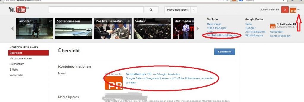 Youtube mit Seiten-Verknüpfung - Scheidtweiler PR