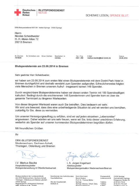 Rotes Kreuz mit guter PR - DRK Blutspenden Bremen Brief an Nicolas Scheidtweiler