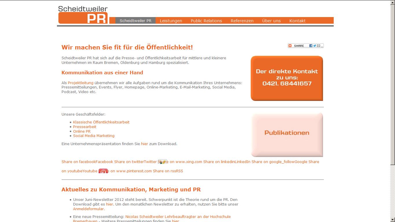 Homepage scheidtweiler.net bis Juni 2012
