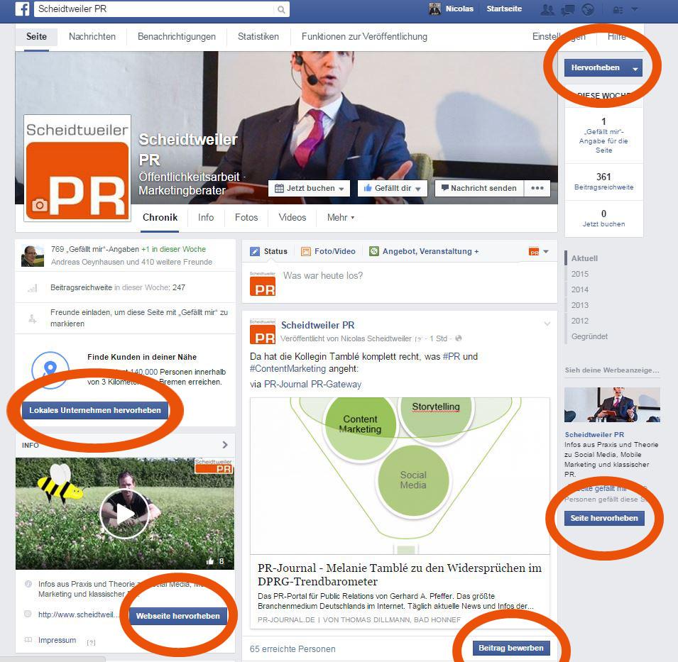 Facebook Seite Hervorheben Und Bewerben