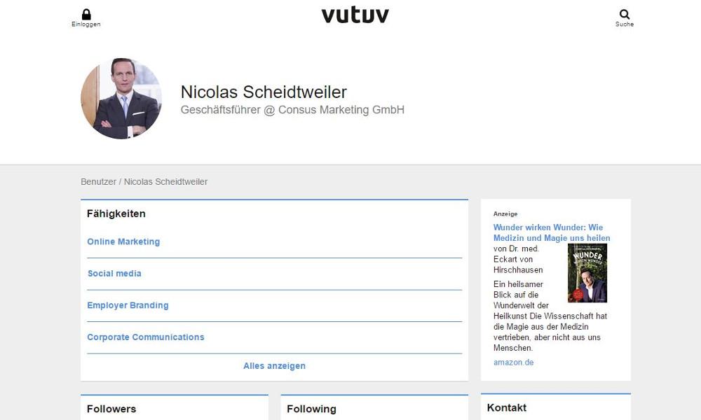 Screenshot: Vutuv - das neue Business-Netzwerk statt Linkedin und Xing