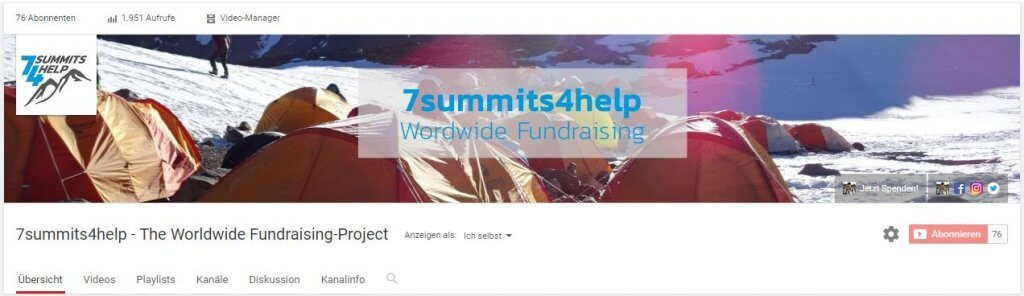 Grafik: Youtube-Kanal-Bild von 7summits4help - PR-Newsletter