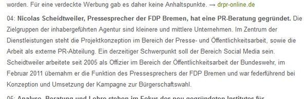 Scheidtweiler PR im PR-Journal 29.08.11 - Medienspiegel