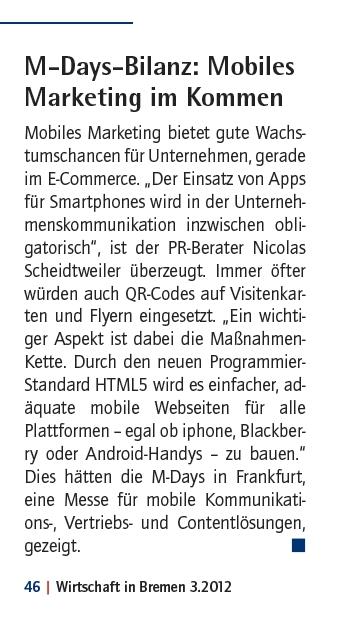 Scheidtweiler PR im Magazin Wirtschaft in Bremen der Handelskammer 15.03.12