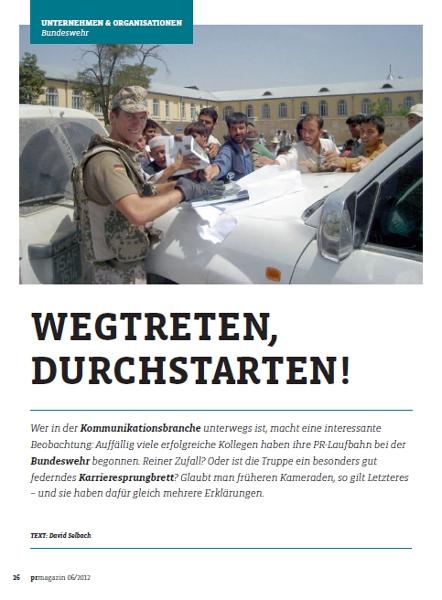 Nicolas als Offizier im PR-Magazin 03.06.12 - Medienspiegel
