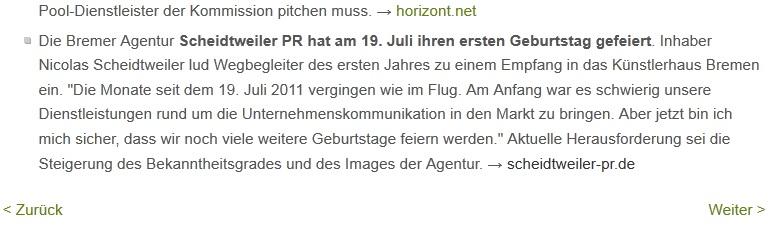 Scheidtweiler PR feierte Geburtstag - PR-Journal - Medienspiegel
