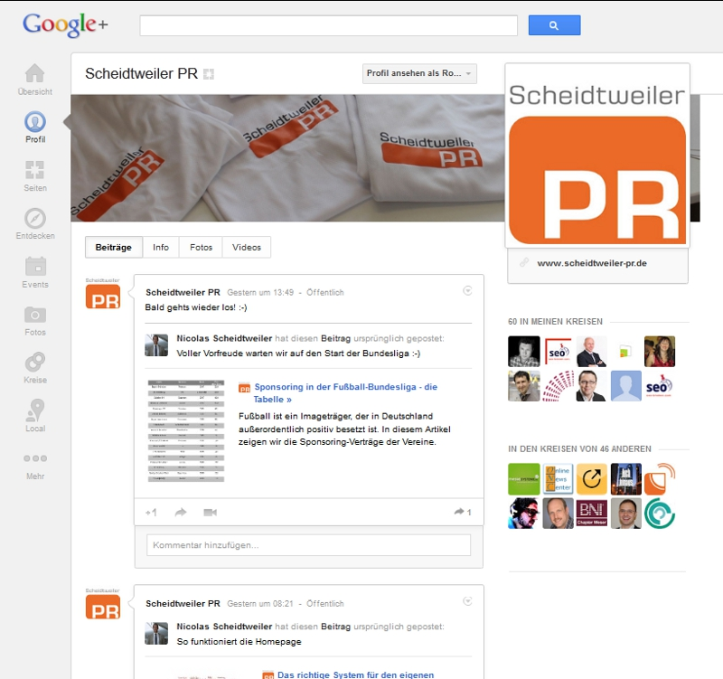 Das Google+-Profil von Scheidtweiler PR