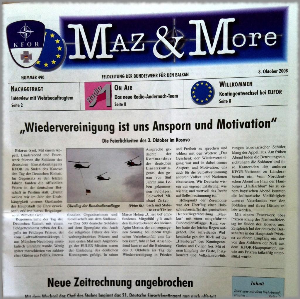 Bundeswehr: Maz und More Cover 2008, Feldlagerzeitung KFOR