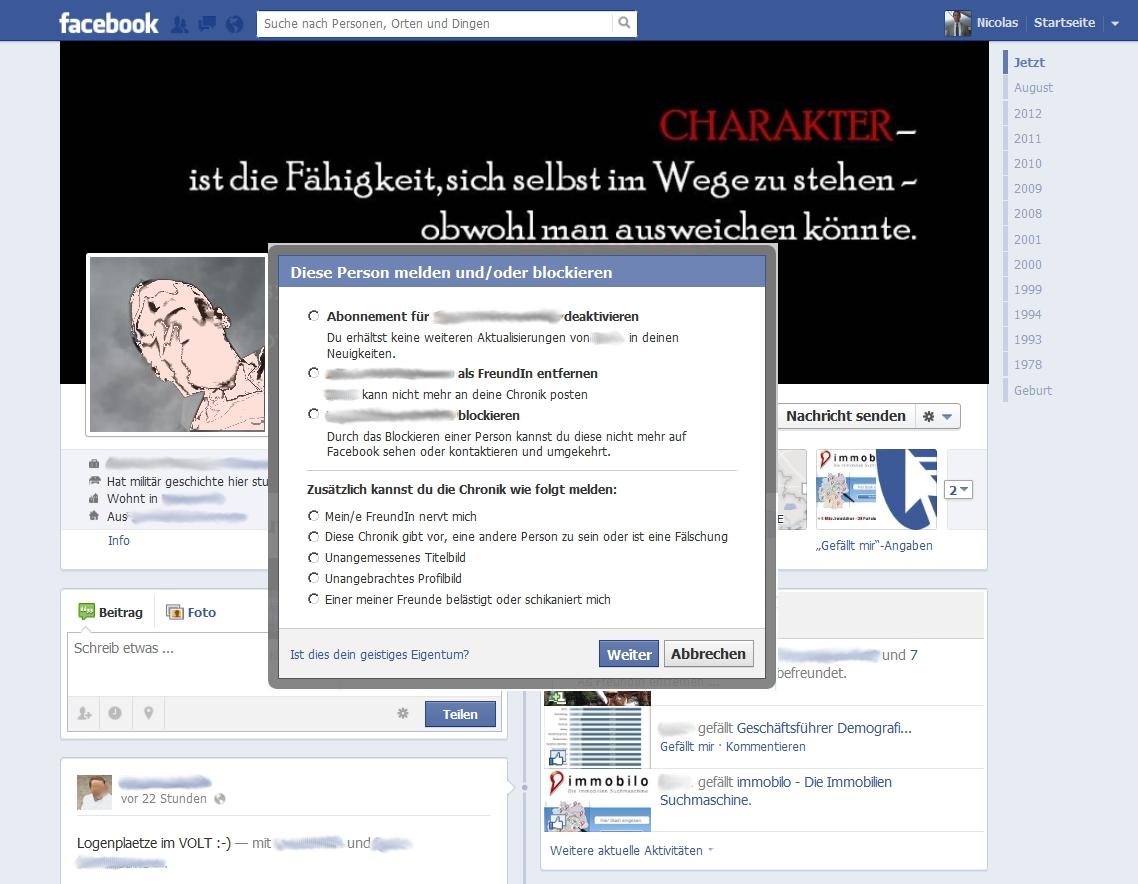 Facebook - Person blockieren 2