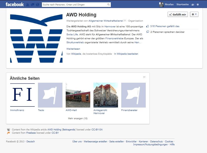 AWD bei Facebook - Wikipedia-Artikel