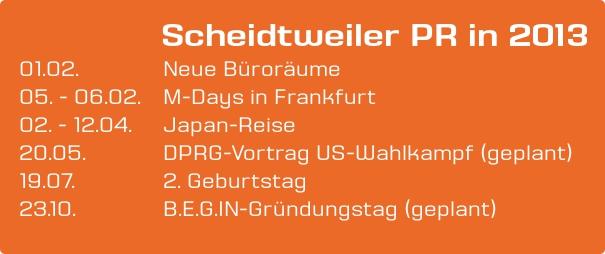 Scheidtweiler PR in 2013 - Agentur Planung (M-Days, DPRG, B.E.G.IN)