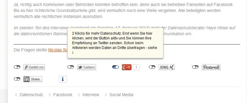 Datenschutz in den Social Media - 2-Click-Lösung - Haye Hösel von Hubit