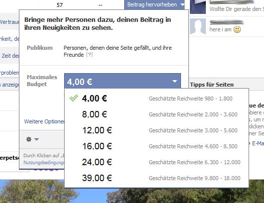 Facebook-Fanpage - Beitrag hervorheben - Scheidtweiler PR