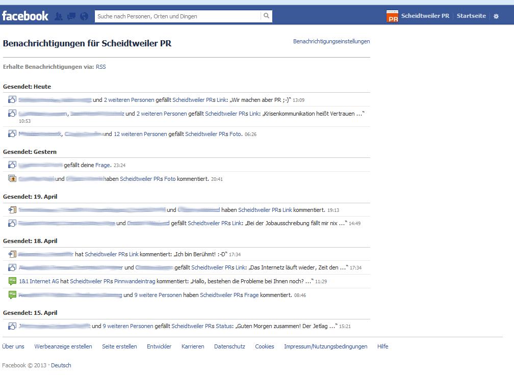 Facebook-Fanpage - Benachrichtigungen RSS - Scheidtweiler PR