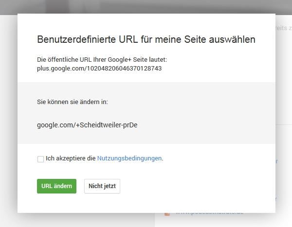 GooglePlus Seiten personalisierte Domain - Scheidtweiler PR Bremen