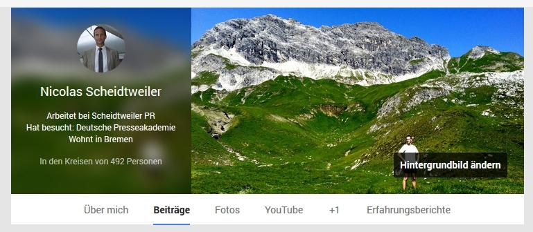 GooglePlus mit neuem Profil-Bild Änderung Schritt 1 - Scheidtweiler PR Bremen