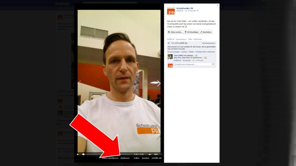 Video bei Facebook bearbeiten Schritt 1 neu - Scheidtweiler PR Bremen