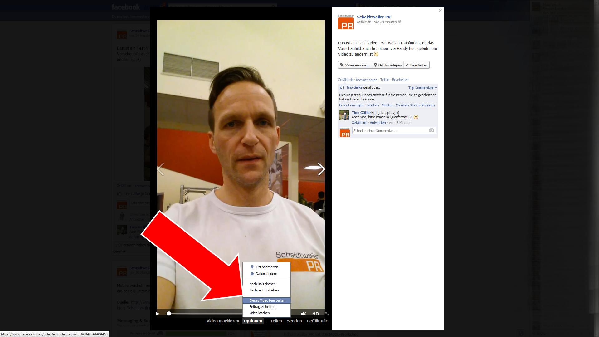 Video bei Facebook bearbeiten Schritt 2 - Scheidtweiler PR Bremen