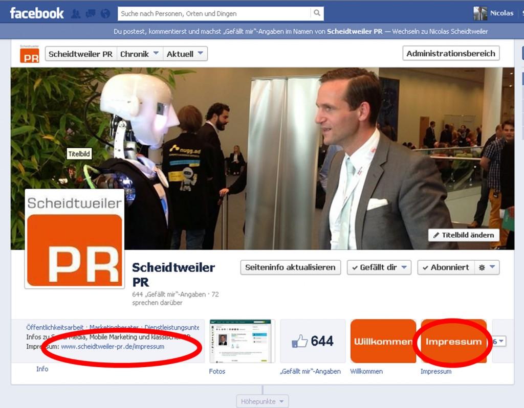 Das Impressum bei Facebook - PR Agentur Bremen