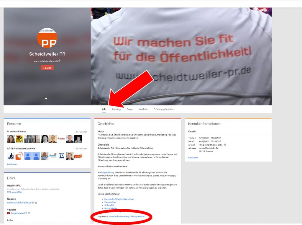 Das Impressum bei GooglePlus - PR Agentur Bremen