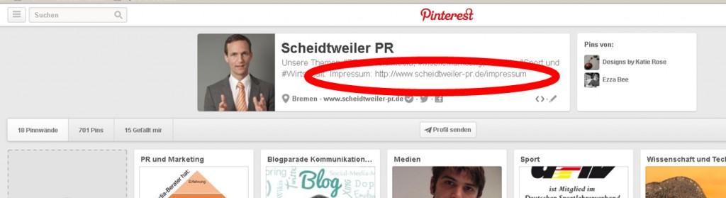 Das Impressum bei Pinterest - PR Agentur Bremen