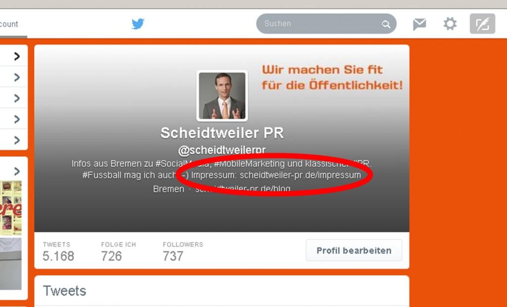 Das Impressum bei Twitter - PR Agentur Bremen