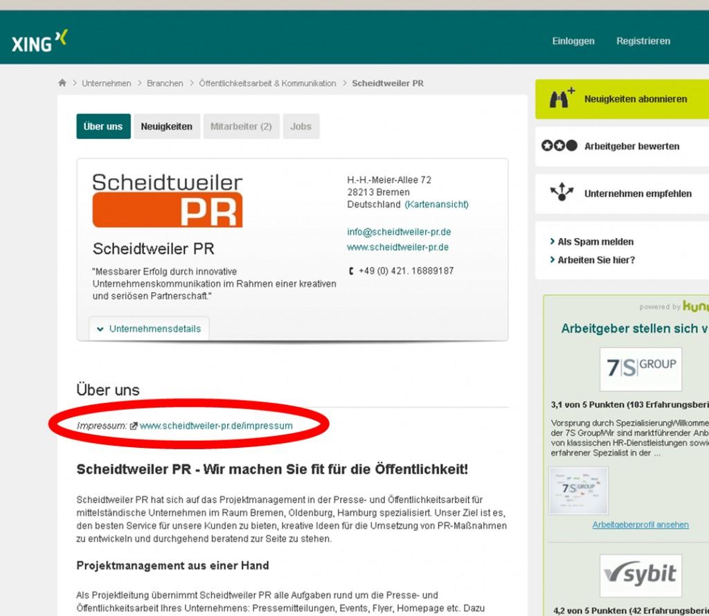 Das Impressum bei Xing - PR Agentur Bremen