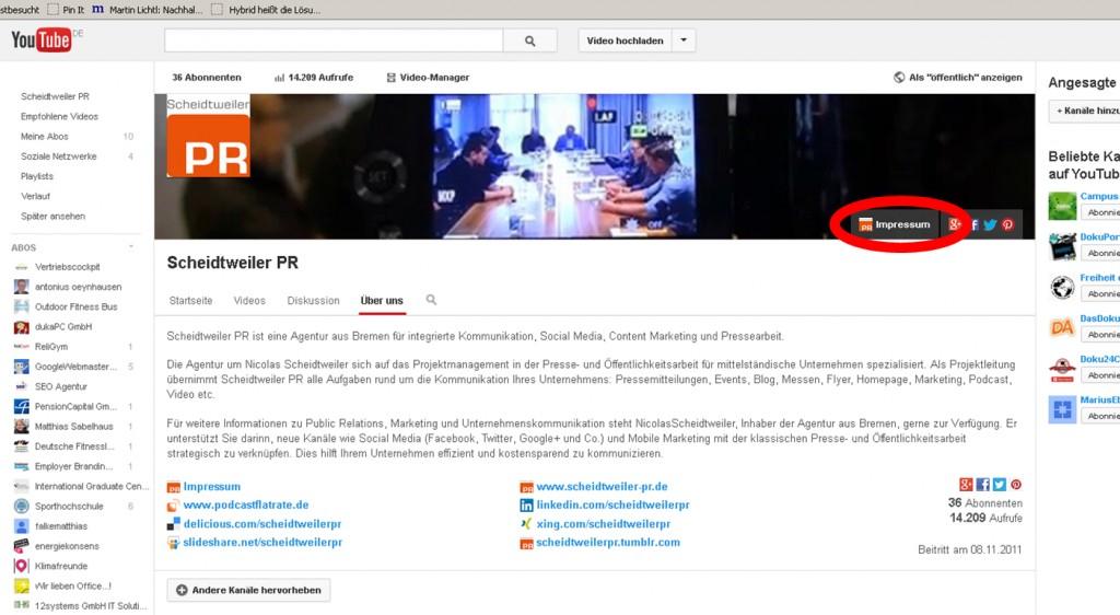 Das Impressum bei Youtube - PR Agentur Bremen
