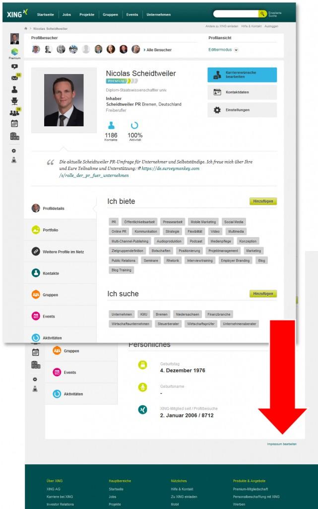 Xing mit Impressumspflicht - Scheidtweiler PR Agentur Bremen