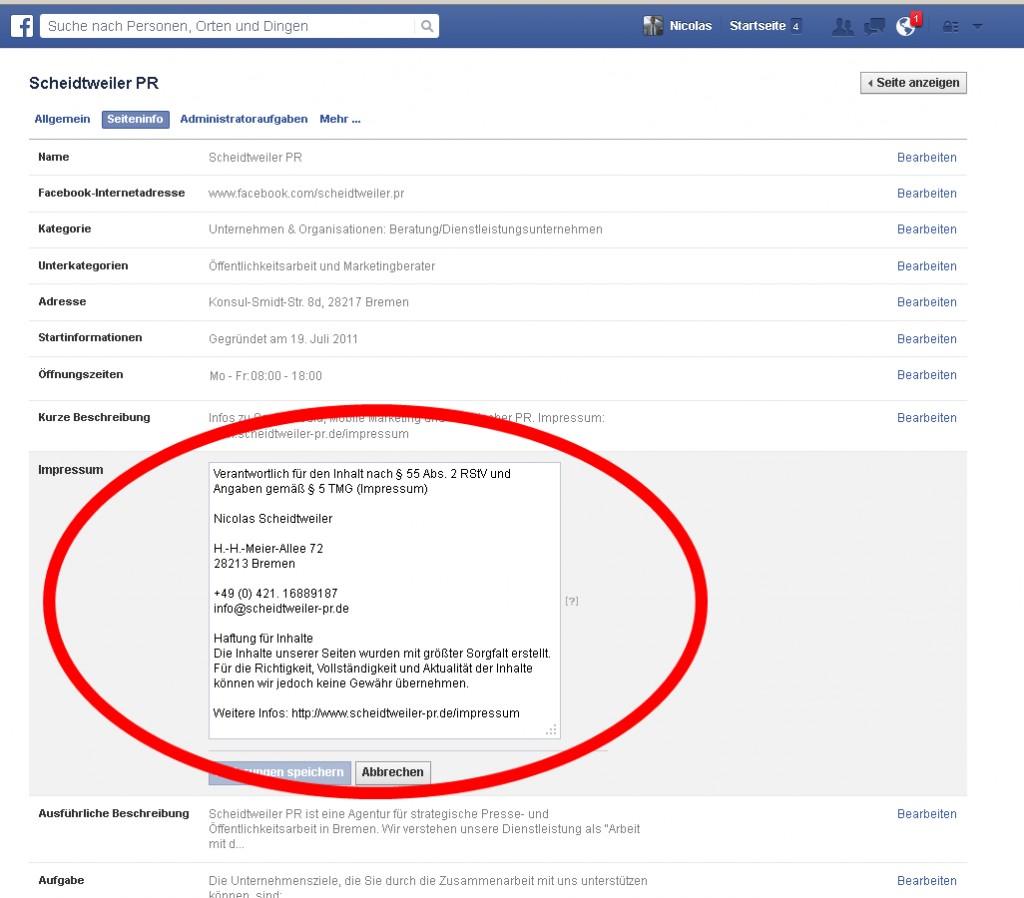 Facebook jetzt mit Impressum Bild 2 - PB Bremen