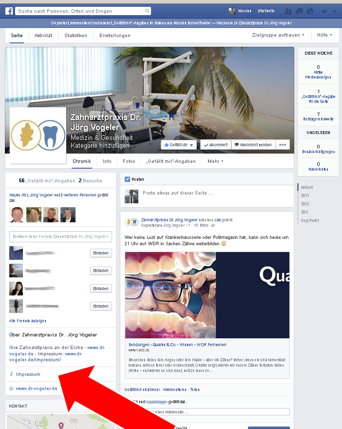 Facebook-Pages: Impressum beim neuen Design - PR Bremen