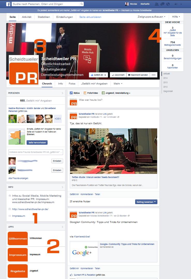 Die neue Facebook-Seite - Fanpage von Scheidtweiler PR-Agentur aus Bremen