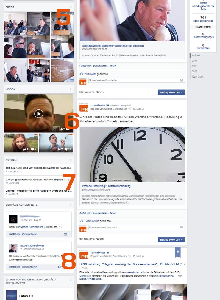 Die neue Facebook-Seite mit Bildern und Videos - Fanpage von Scheidtweiler PR-Agentur aus Bremen