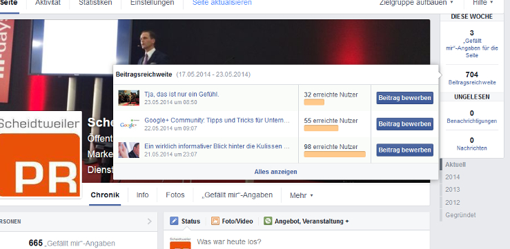 Die neue Facebook-Seite mit Statistiken - Fanpage von Scheidtweiler PR-Agentur aus Bremen