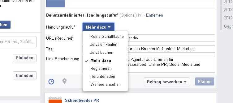 Facebook - benutzerdefinierter Handlungsaufruf Teil 1 - PR Agentur Bremen
