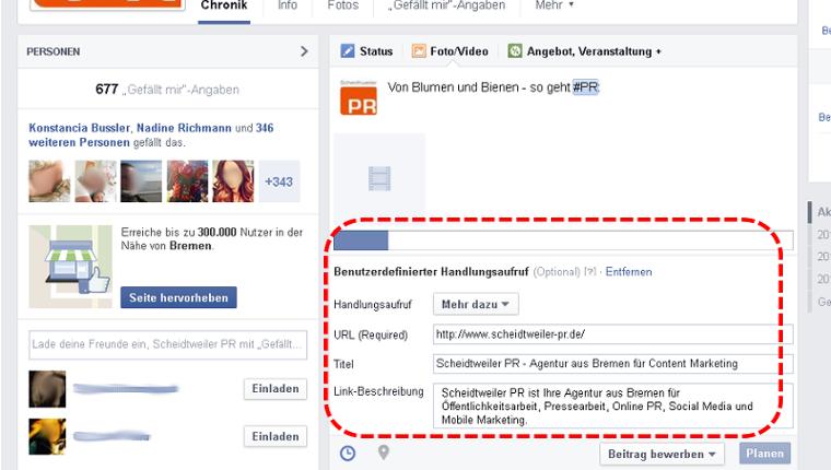Facebook - benutzerdefinierter Handlungsaufruf Teil 2 - PR Agentur Bremen