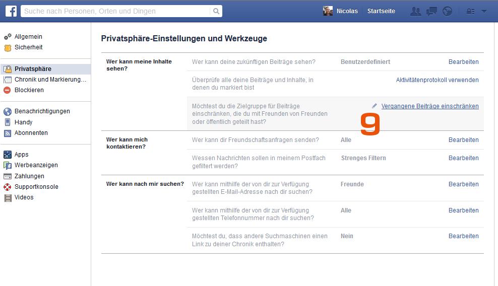 Facebook - Vergangene Beiträge einschränken - Scheidtweiler PR
