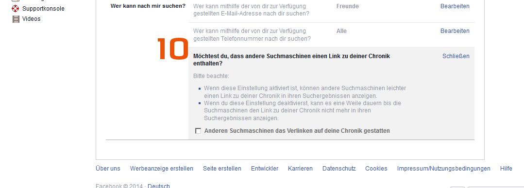 Facebook - Suchmaschinen Suche verhindern - Scheidtweiler PR