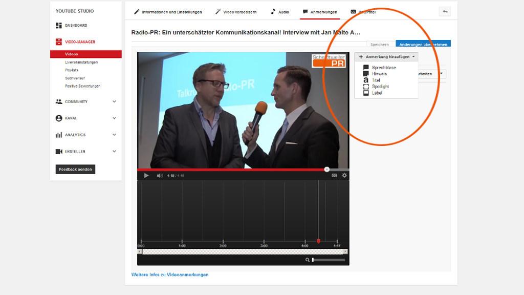 Youtube-Videos verknüpfen - Art der Anmerkung - PR-Blog aus Bremen