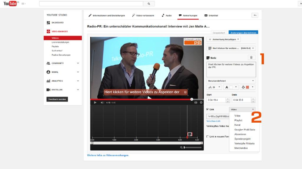 Youtube-Videos verknüpfen - Einstellungen zur Anmerkung - PR-Blog aus Bremen
