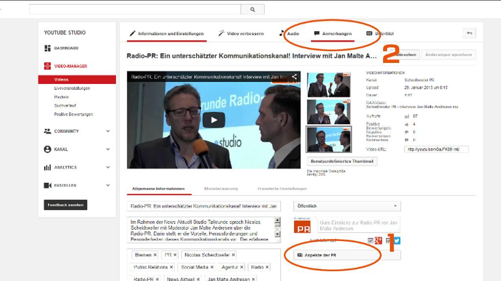 Youtube-Videos verknüpfen - Zwei Varianten Playlist und Anmerkungen - PR-Blog aus Bremen