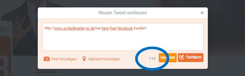 Twitter - normalen Link teilen mit 140 Zeichen