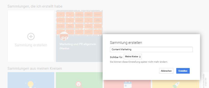 Googleplus-Sammlungen neu erstellen - Social Media im PR-Blog
