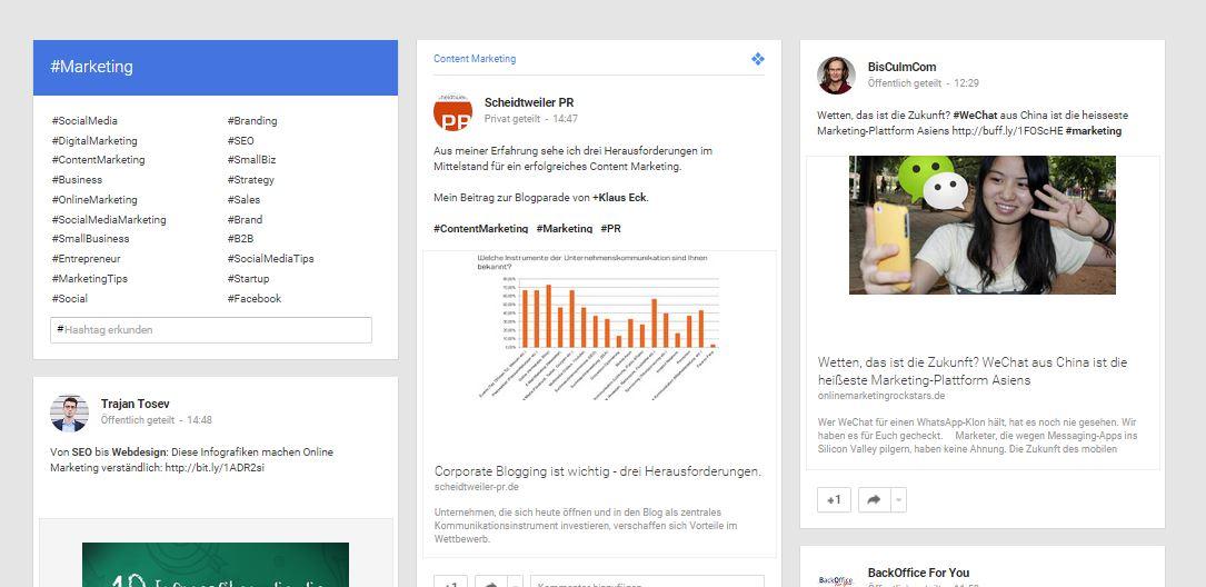 Hashtags bei Googleplus-Sammlungen - Social Media im PR-Blog