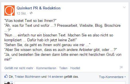 Quinkert Beispiel zum Thema Texte - PR-Blog Bremen